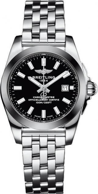 Breitling Galactic Acier inoxydable Noir Dial Dame W7234812/BE49 791A Montre