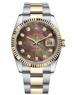 Réplique Rolex Datejust 36mm acier et or Dark Mother of Pearl Dial 116233 DKMDO Montre